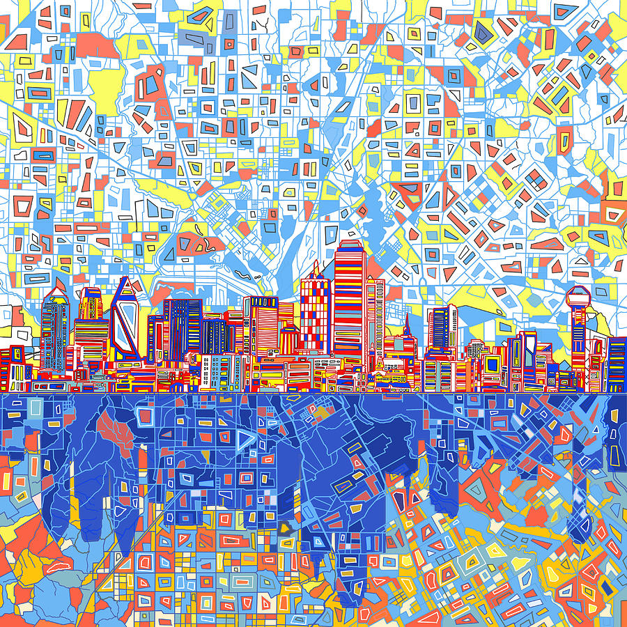 Dallas Painting - Dallas Skyline Abstract 5 by Bekim M