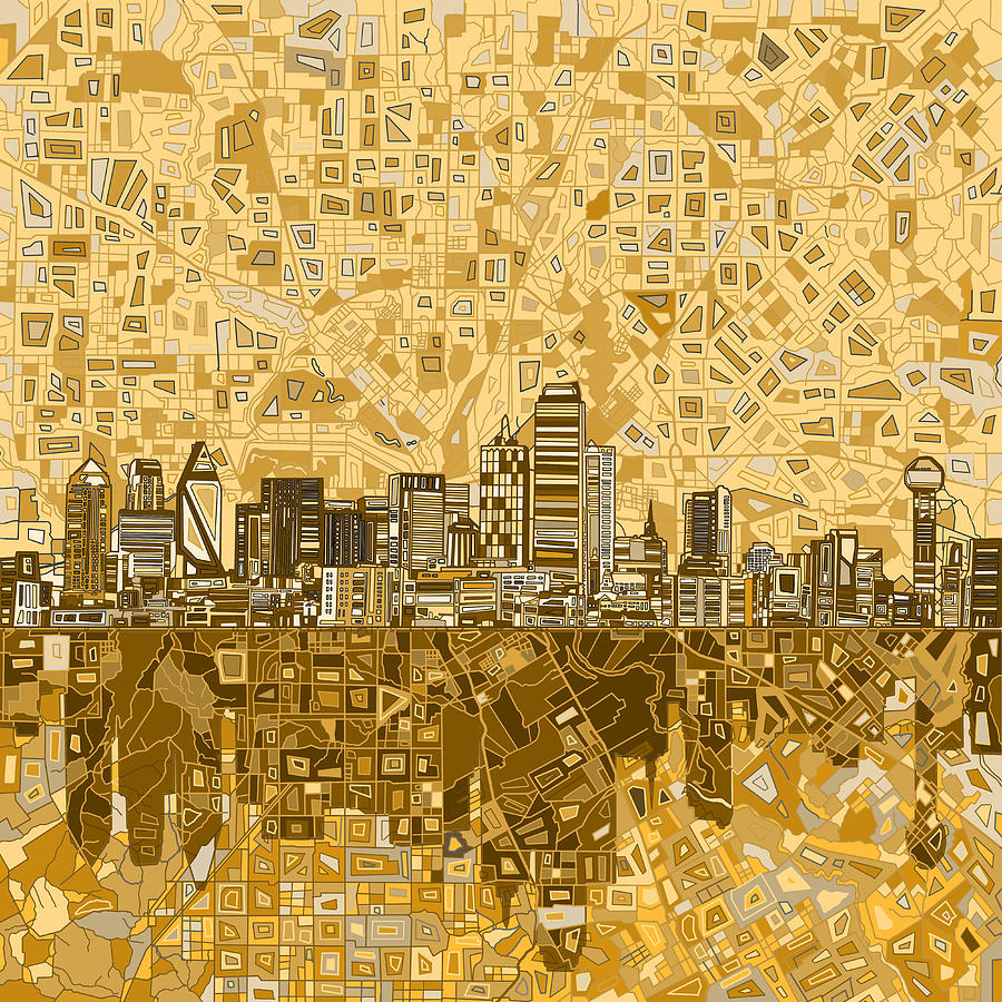 Dallas Painting - Dallas Skyline Abstract 6 by Bekim M