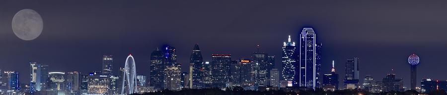 Dallas Skyline Full Moon Photograph
