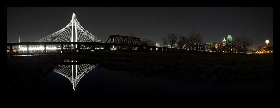 Dallas Skyline Hunt Bridge Color Photograph