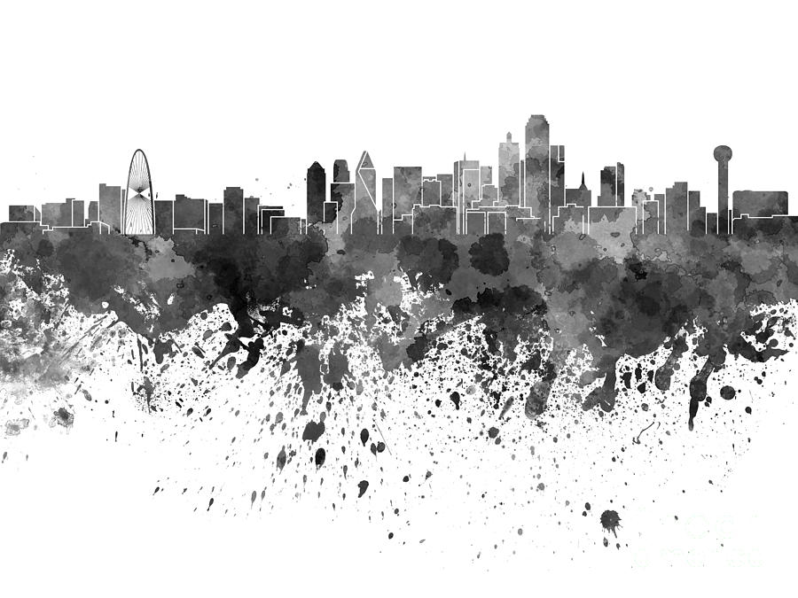 Dallas Skyline In Black Watercolor On White Background