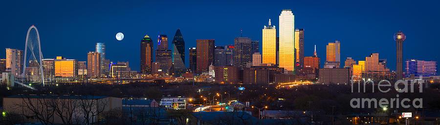 Dallas Photograph - Dallas Skyline Panorama by Inge Johnsson