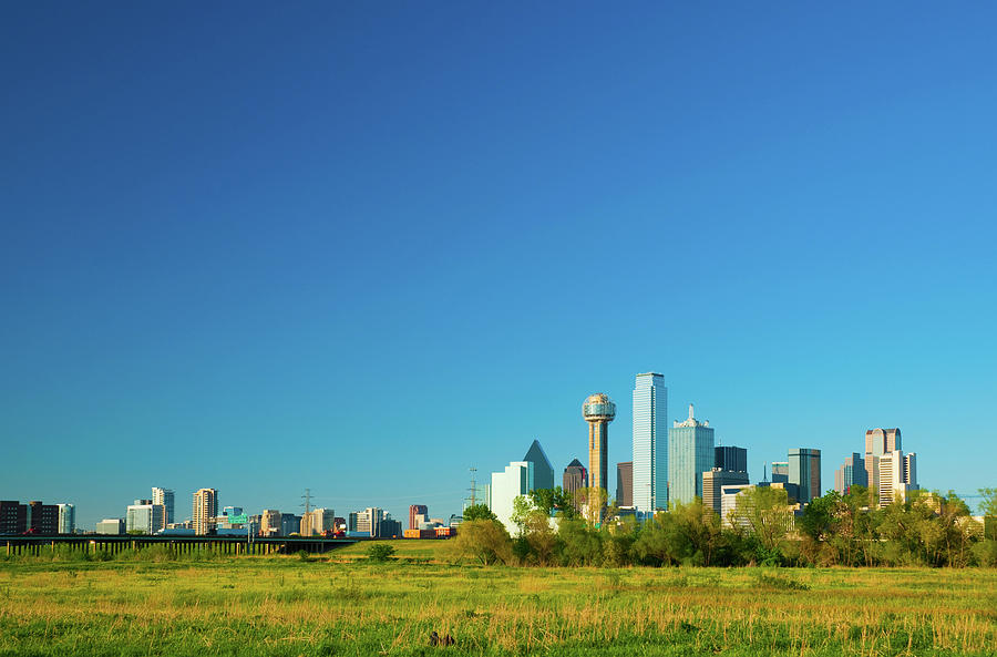 Dallas Skyline Wide Angle Photograph by Davel5957