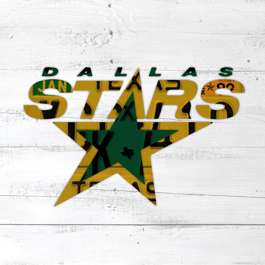 Dallas Mixed Media - Dallas Stars Hockey Team Retro Logo Vintage Recycled Texas License Plate Art by Design Turnpike