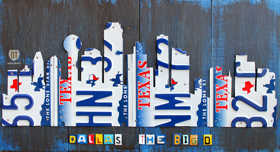License Plate Map Mixed Media - Dallas Texas Skyline License Plate Art By Design Turnpike by Design Turnpike