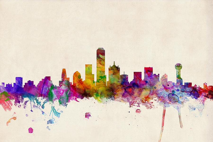 Watercolour Digital Art - Dallas Texas Skyline by Michael Tompsett