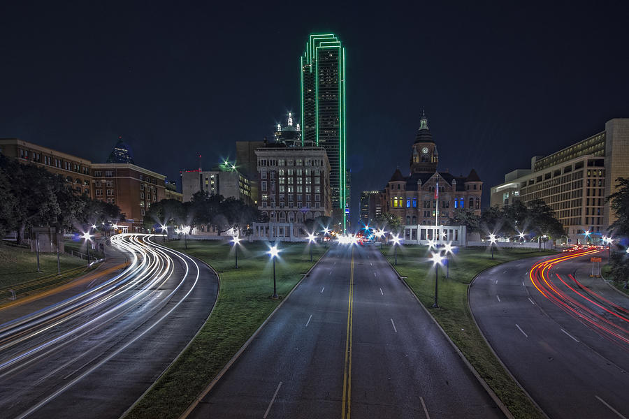 Dealy Plaza - Dallas Skline At Night Photograph