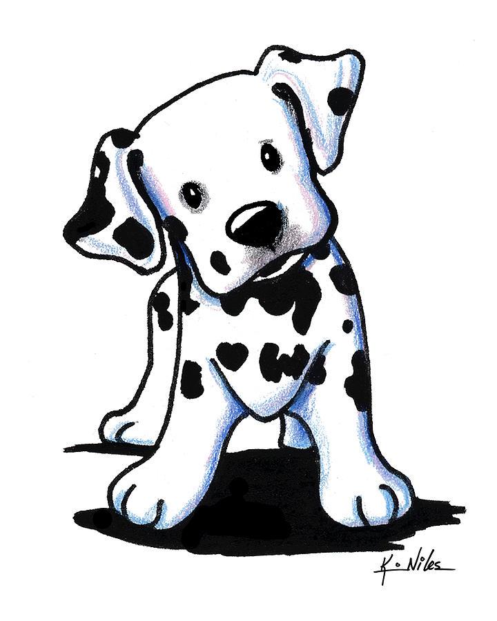 Dalmatian Dog Drawing - Dalmatian Puppy by Kim Niles