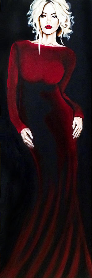Women Painting - Dames and Dolls  Red by Jill English
