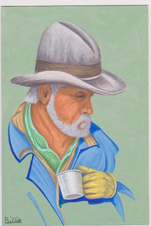 Cowboy Painting - Damn Good Coffee by Billie Bowles