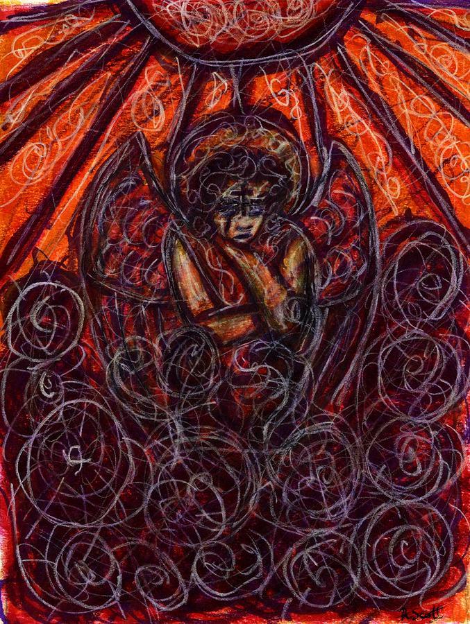 Angel Drawing - Damnation by Rachel Scott