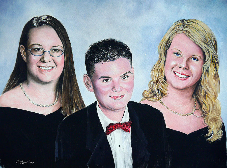 Family Painting - Dana Curtis And Viktoria by Andrew Read