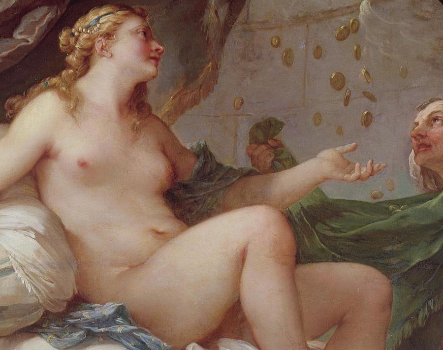 Danae Painting - Danae Receiving The Shower Of Gold by Charles Joseph Natoire