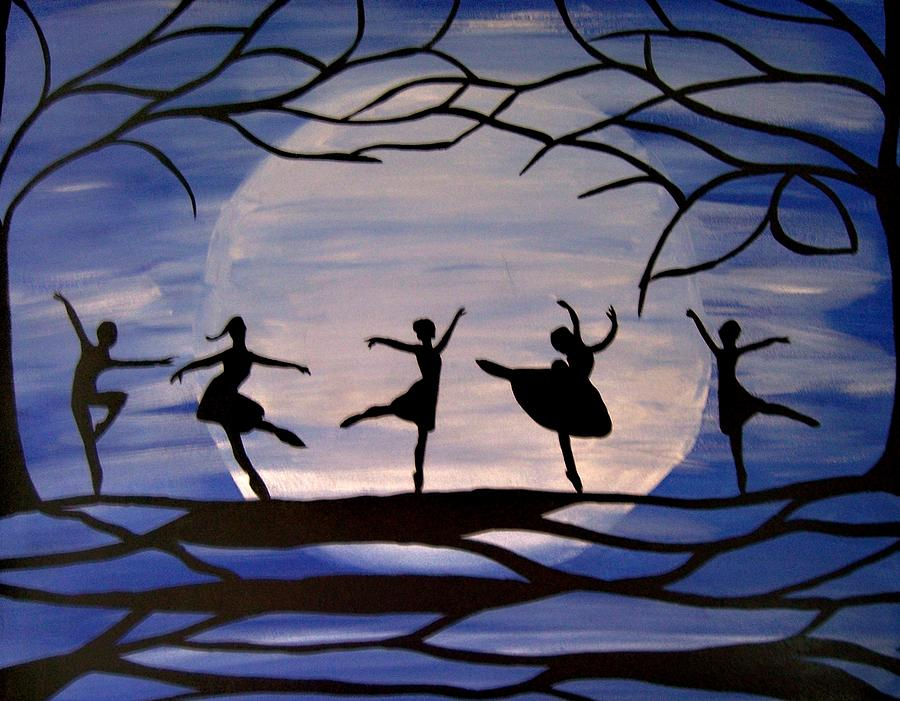 Silhouette Painting - Dance By The Light Of The Moon by Rachel Olynuk