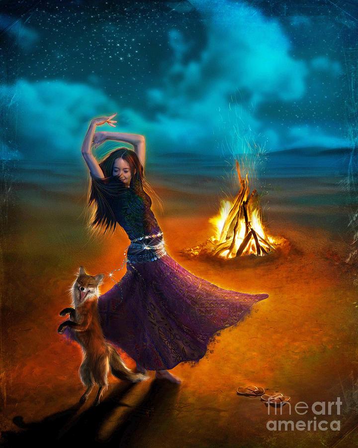 Girl Digital Art - Dance Dervish Fox by Aimee Stewart