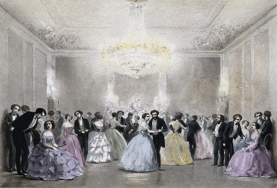 Horizontal Photograph - Dance Hall Of Mr. Laborde. Litography by Everett