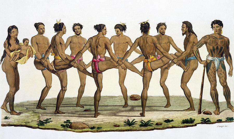 Giulio Drawing - Dance Of The Caroline Islanders, Plate by Felice Campi