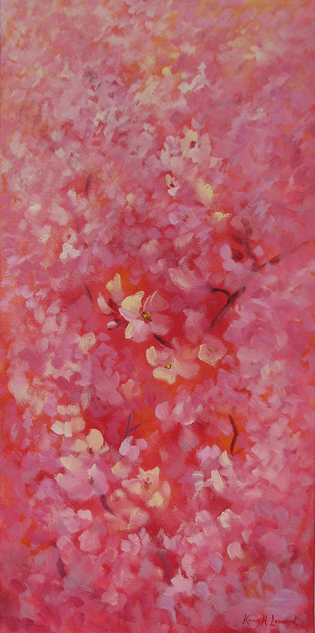 Cherry Blossoms Painting - Dance Of The Cherry Blossoms by Karin  Leonard