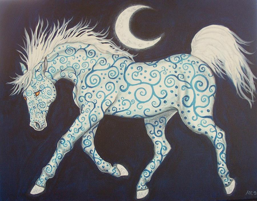 Celtic Painting - Dance Of The Moon Horse by Beth Clark-McDonal
