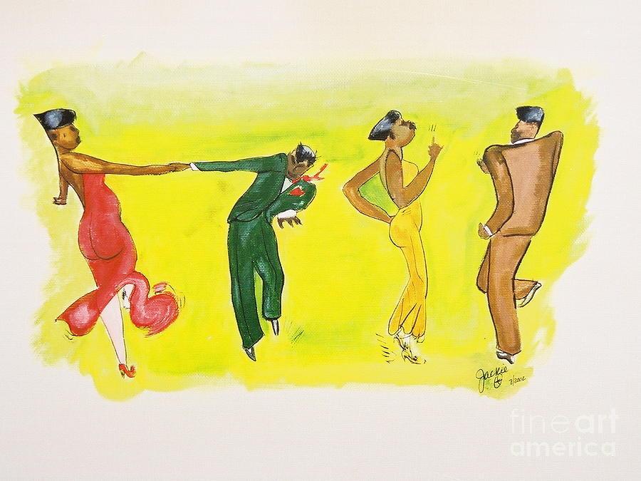 Lindy Hop Mixed Media - Dance Series 5 of 8 Lindy Hop-Swing by JackieO Kelley