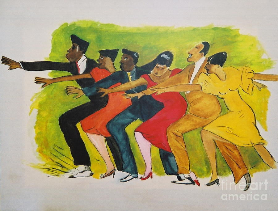 40's Mixed Media - Dance Series1 0f 8-Shim Sham Shimmy by JackieO Kelley