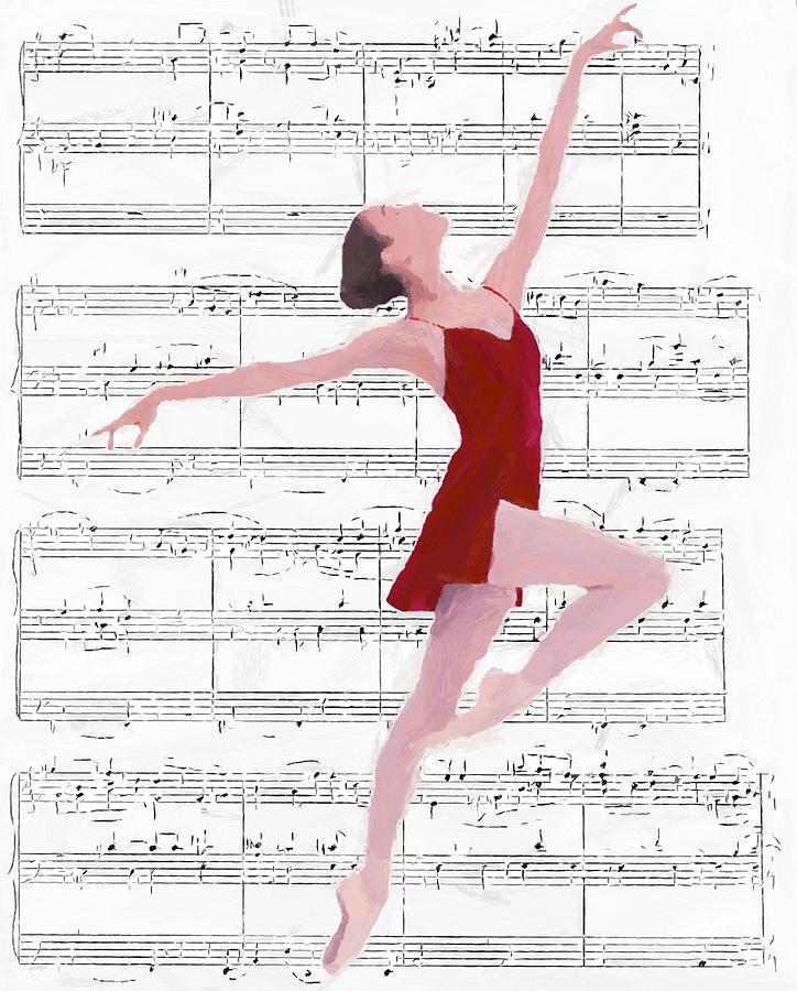Ballet Dancer Dancing Melody Music Female Woman Girl Romance Romantic Ballerina Painting - Dance To The Music by Steve K