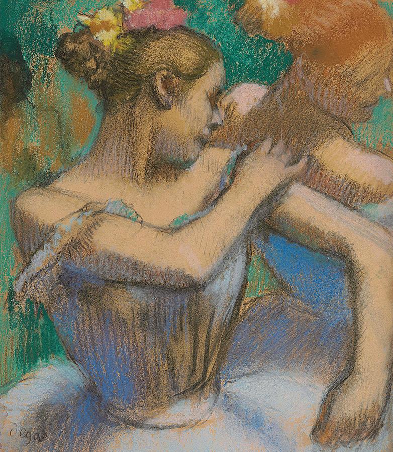 Edgar Degas Pastel - Dancer Adjusting Her Shoulder by Edgar Degas