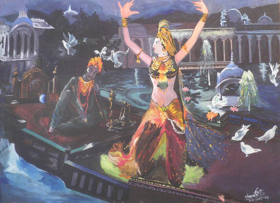King Painting - Dancer Laxmi Dancing On The Boat by Artist Nandika  Dutt