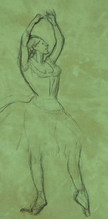 Dancer Drawing - Dancer With Raised Arms by Edgar Degas