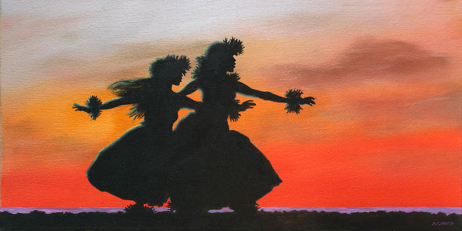 Hula Painting - Dancers At Sunset by Wahine Art