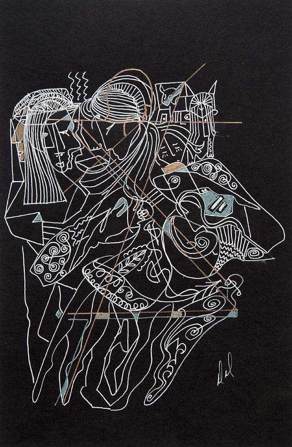 Abstract Figures Drawing - Dancers by Dennis Davis