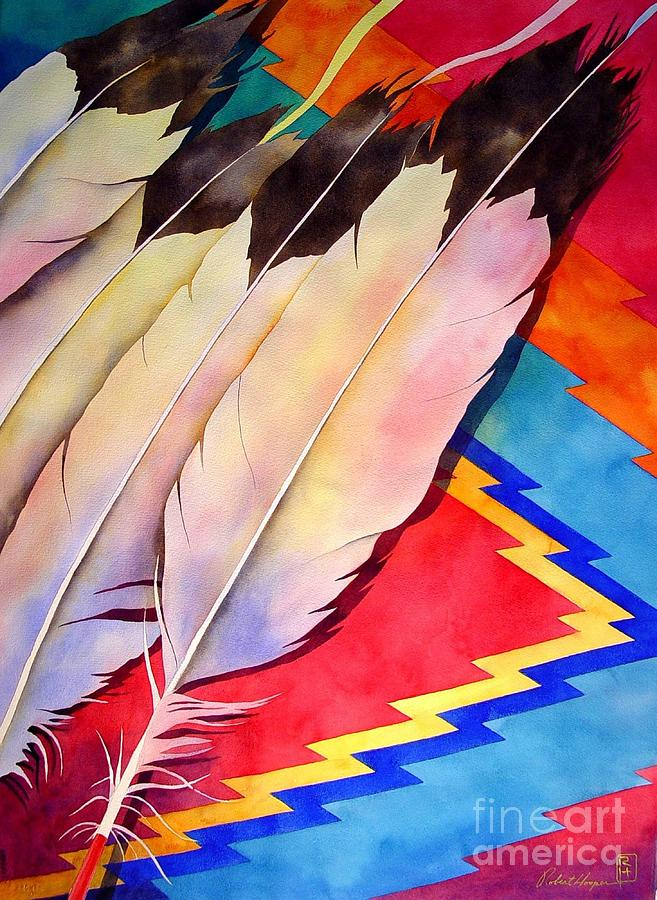 Watercolor Painting - Dancers Feathers by Robert Hooper