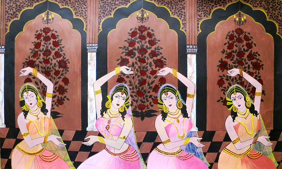Dancers In Mughal Court Painting By Rupa Prakash