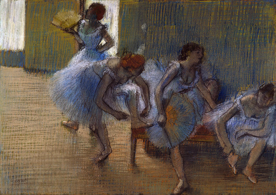 Degas Pastel - Dancers On A Bench, 1898 by Edgar Degas