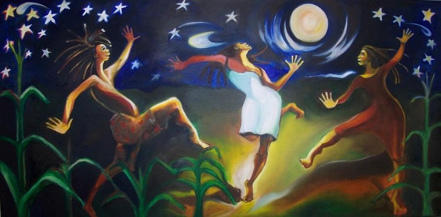 Dancing Painting - Dancin In The Moonlight by Joyce McEwen Crawford