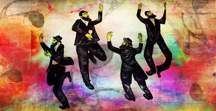 Jewish Symbol Painting - Dancing All The Time  by Mimi Eskenazi