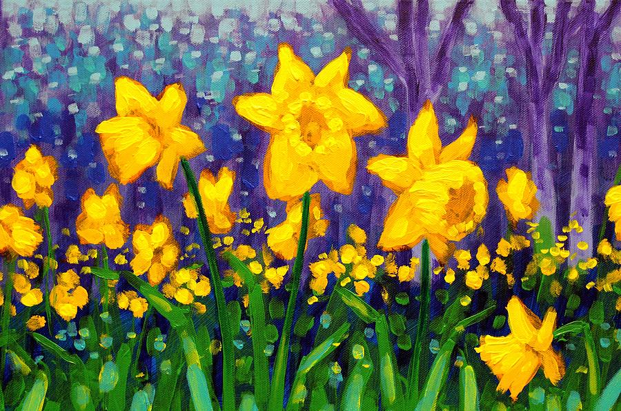 Acrylic Painting - Dancing Daffodils    Cropped by John  Nolan