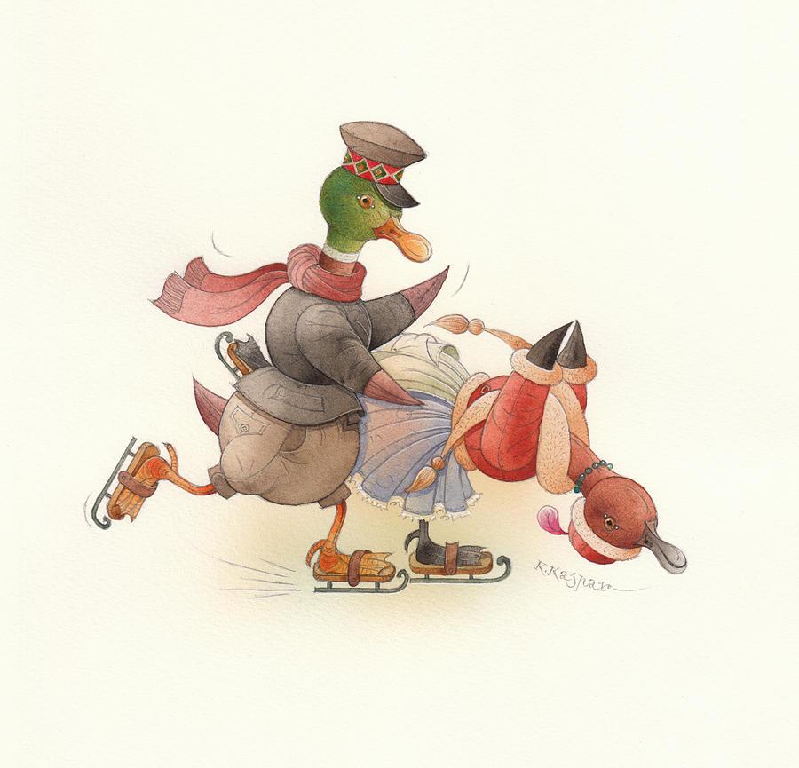 Christmas Painting - Dancing Ducks 03 by Kestutis Kasparavicius