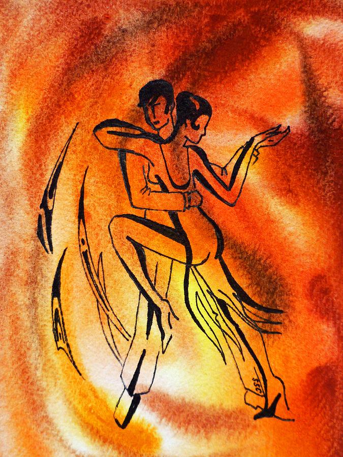 Abstract Design Painting - Dancing Fire Iv by Irina Sztukowski