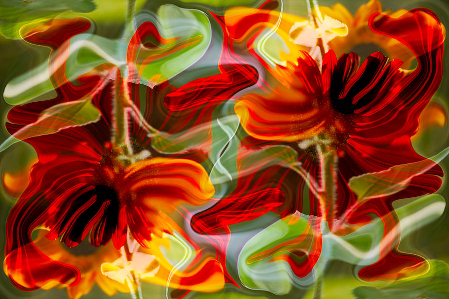 Abstract Painting - Dancing Flowers by Omaste Witkowski