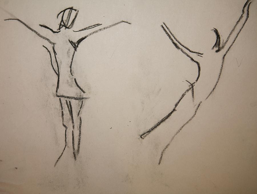 Dancing Drawing - Dancing Girls by Elena Svobodina
