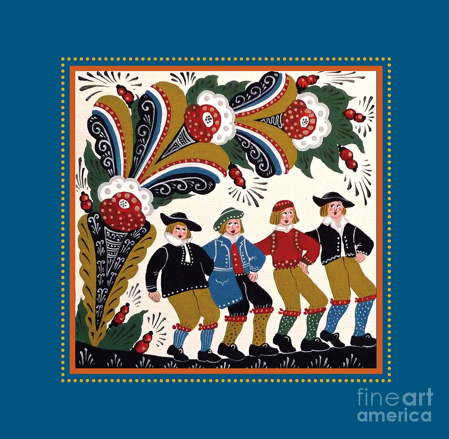 Kurbits Painting - Dancing Men 4 by Leif Sodergren