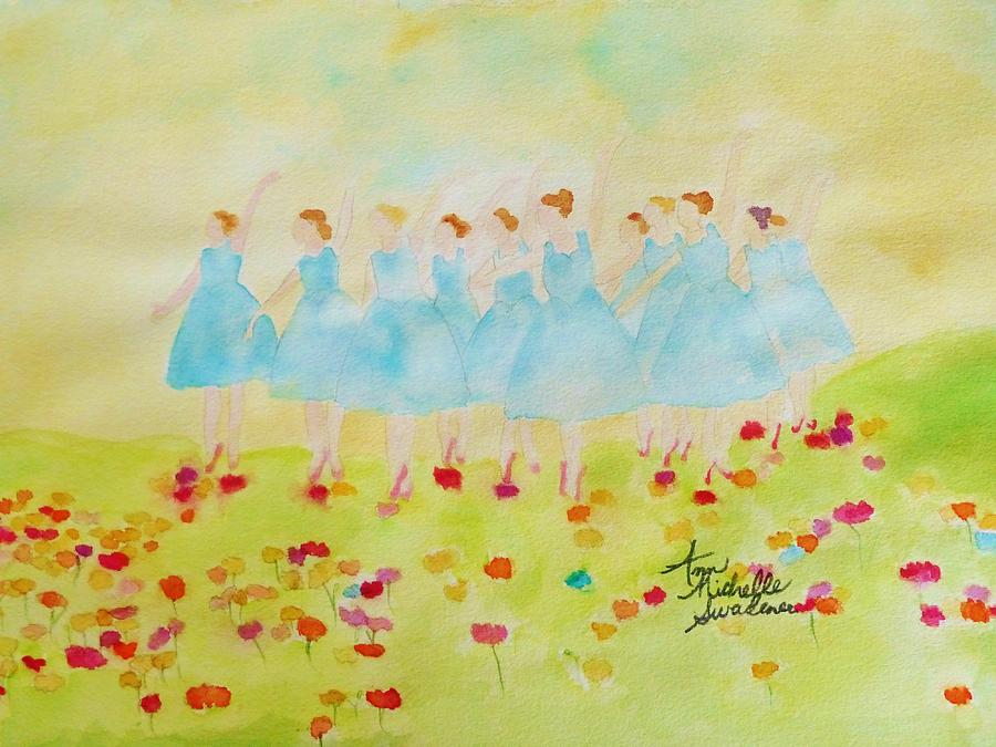 Dancers Painting - Dancing On Top Of The Flowers by Ann Michelle Swadener