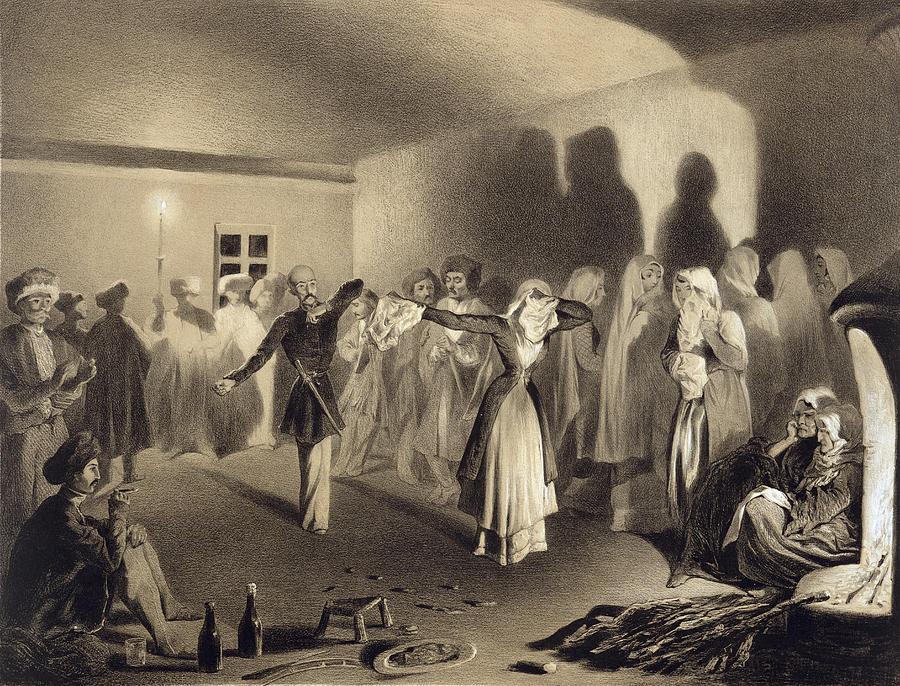 Daghestan Drawing - Dancing Party At Kagha-choura by Grigori Grigorevich Gagarin