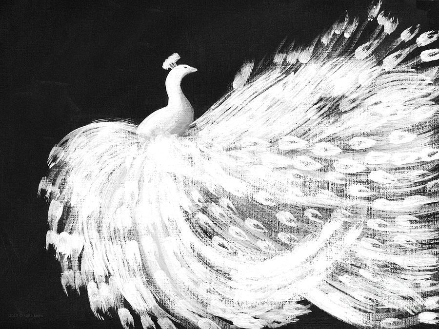 Dancing Peacock Black Painting