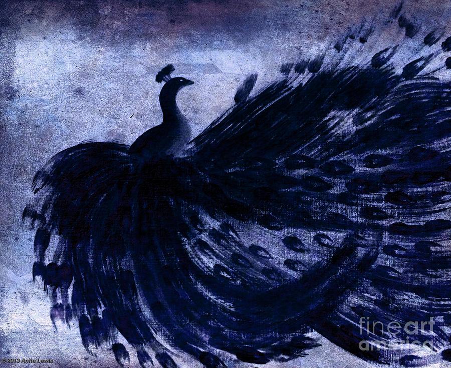 Art Nouveau Painting - Dancing Peacock Navy by Anita Lewis