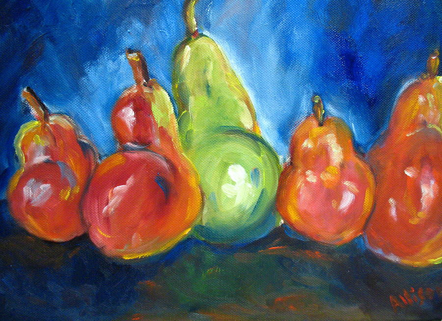 Still Life Paintings Painting - Dancing Pears by Stephanie Allison