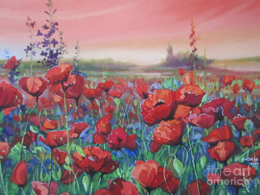 Poppies Painting - Dancing Poppies by Andrei Attila Mezei