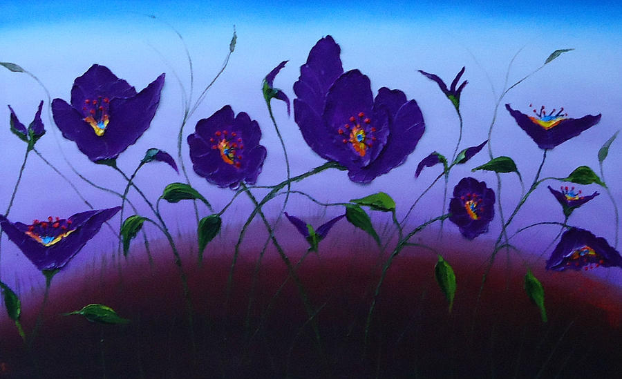 Dancing Purple Poppies 1 Painting by Portland Art Creations
