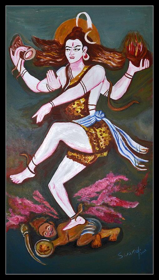 Siva Tandavam (dancing)meditating Siva Being Disturbed By Kama Dev Painting - Dancing Siva  by Anand Swaroop Manchiraju